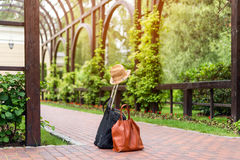Travel bags and hat, summer travelling holiday concept. Royalty Free Stock Photo