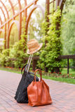 Travel bags and hat, summer travelling holiday concept. Royalty Free Stock Image