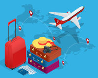 Travel bags, passport, foto camera and travel ticket and airplane in sky. Isometric flat 3d vector illustration. Stock Photography