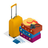 Travel bags, passport, foto camera and travel ticket. Isometric flat 3d vector illustration. Royalty Free Stock Images