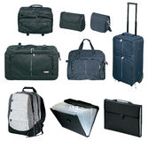 Travel bags and suitcases collection Stock Photography