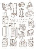 Travel Bags and Suitcases, Vector Hand Drawn Set Royalty Free Stock Photos
