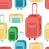 Travel bags in various colors. Seamless pattern with Lluggage suitcase. Royalty Free Stock Photo