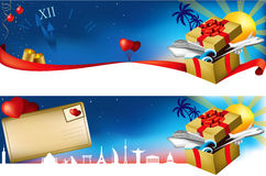 Travel banner. Cruising and plane flights to greatest world destinations. Christmas present or any other ocasion stock illustration