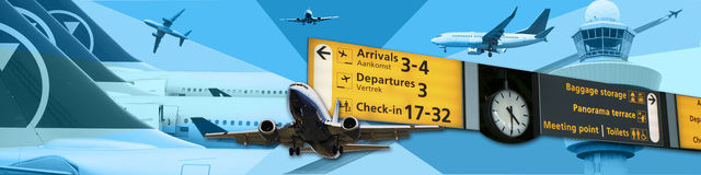 Travel banner. Travel design/ background with planes going in all directions and a sign with travel information Stock Images