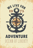 Travel banner with anchor, helm and Rose of Wind. Travel vector banner with an anchor, helm, Rose of Wind and the words we live for adventure on old paper Royalty Free Stock Image