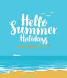 Travel banner with beach, sea, gulls and ship Royalty Free Stock Photography