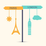 Travel banner. Concept of choice between London and Paris vector illustration