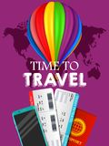 Travel banner design. Vacation business trip offer concept. Vector tourist illustration with passport, ticket, airballon Travel ba stock illustration