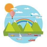 Travel banner. Flat vector illustration. Stock Photo