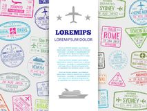 Travel banner with grunge passport stamps background. Vector stamp mark travel and vacation illustration vector illustration