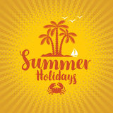 Travel banner with island and palm trees. Vector travel banner with island and palm trees on yellow background and the words summer holidays Stock Image