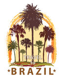 Travel Banner with Palm Trees for Brazil. Royalty Free Stock Photos