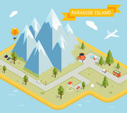 Travel banner. Paradise island isometric flat map Royalty Free Stock Photo