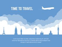 Travel banner with plane. Travel banner. Plane flying over famous cities sights. Time to travel text. Flat style silhouette tourism banner. Tourism landmarks stock illustration