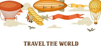 Travel banner with retro air transport. Vintage aerostat airship, blimp and plain in cloudy sky Royalty Free Stock Image