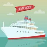 Travel Banner. Sea Holidays. Passenger Ship Royalty Free Stock Photo