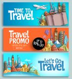 Travel banner set vector template design with travel and tour text. And world`s famous landmarks and tourist destinations elements in colorful background stock illustration