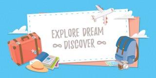 Travel banner stuffs for your design. Travel banner for web design, poster or application. travel stuffs for your design Stock Photography