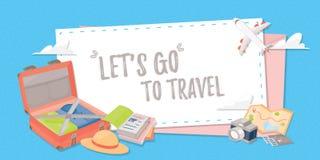 Travel banner stuffs for your design. Travel banner for web design, poster or application. travel stuffs for your design Stock Photos