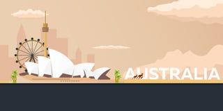 Travel banner to Australia. Vector flat illustration. Vector Illustration