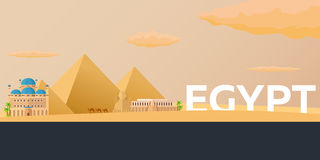 Travel banner to Egypt. Vector flat illustration. Stock Photography