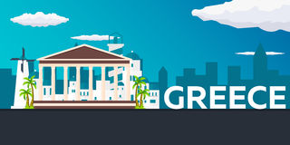 Travel banner to Greece. Vector flat illustration. Royalty Free Stock Photo