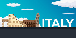 Travel banner to Italy. Vector flat illustration. Stock Photography