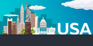 Travel banner to USA. Vector flat illustration. Royalty Free Stock Image