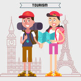 Travel Banner. Tourism Industry. Active People. Girl with Map. Royalty Free Stock Image
