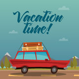 Travel Banner. Travel by Car. Vacation Time Royalty Free Stock Image
