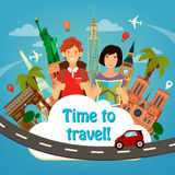 Travel Banner. Travel Industry. Tourist Man and Woman Royalty Free Stock Photography