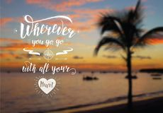 Travel banner. Vector hand lettering quote on the exotic background for poster. Sunrise on the beach with palm tree. Marine landscape Stock Photo