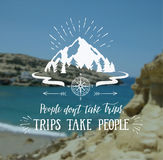 Travel banner. Vector hand lettering quote on the sea landscape for poster. Royalty Free Stock Image