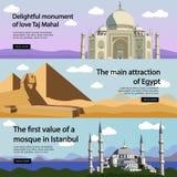 Travel banner vector set. International culture Royalty Free Stock Image