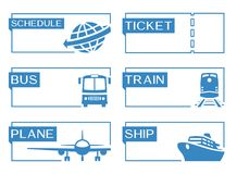 Travel banners with bus, plane, train and ship icons Royalty Free Stock Images