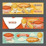 Travel banners with retro air transport. Vintage aerostat airship, blimp and plain in cloudy sky Stock Photography