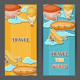 Travel banners with retro air transport. Vintage aerostat airship, blimp and plain in cloudy sky Stock Image