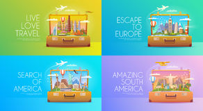 Travel banners set Stock Photos