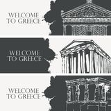 Travel banners on the theme of Ancient Greece. Set of three vector travel banners on the theme of Ancient Greece with pencil drawings of Greek attractions in vector illustration