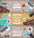 Travel banners. Travel and Tourism. Web banner. Objects on wooden background. Flat design. Vector Royalty Free Stock Photos