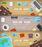 Travel banners. Travel and Tourism. Web banner. Objects on wooden background. Flat design. Vector Royalty Free Stock Image