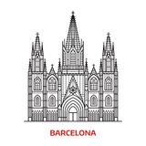 Travel Barcelona Landmark. Icon. Gothic cathedral is one of the famous tourist attractions in capital of Catalonia, Spain. Thin line catholic church vector Stock Image