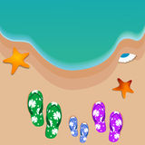 Travel, beach. Travel, slippers at a beach Stock Photography