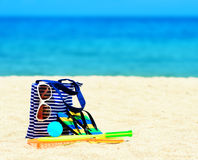 Beach accessories. Concept of summer vacations Royalty Free Stock Photo