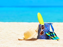 Beach accessories. Concept of summer vacations royalty free stock image