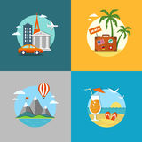 Travel and beach flat banners set Royalty Free Stock Images