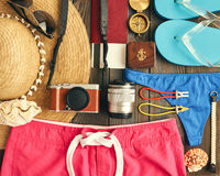 Travel and beach flat lay Royalty Free Stock Image