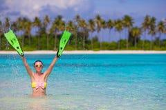 Travel beach fun concept - woman holding Stock Photos
