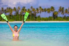 Travel beach fun concept - woman holding Royalty Free Stock Images